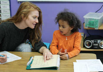teaching math to a prek student