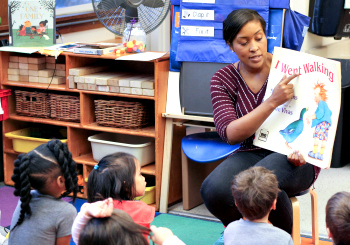 PreK teacher literacy lesson